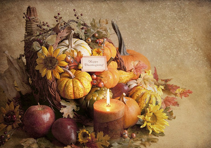 Cornucopias and Festive Holiday Centerpieces